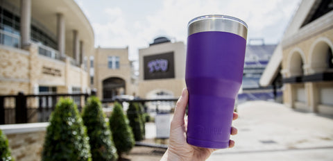 Enjoying a purple Bison Tumbler
