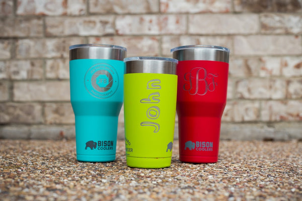 Custom Laser Engraved Colored Bison Cooler Tumblers