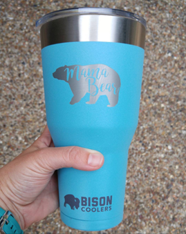 Custom Robin Egg Blue Laser Engraved Bison Tumbler
