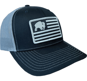 Bison Black American Flag Cap