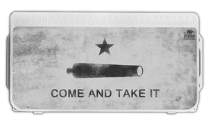 Bison Coolers Accessories - Come and Take It Cooler Lid Graphic. The Gonzales Flag represents the beginning of the Texas Revolution and embodies the spirit of Texas individualism, flying it in the face of those who tried to oppress them.