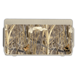 We are proud to offer our new Reeds N Weeds™  Lid Graphic from Hunting Attractions© at Bison Coolers