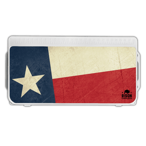 Bison Coolers Accessories - Texas Flag Lid Graphics. UV resistant, easy application, anti-skid texture, added durability. Best Outdoor Coolers for hunting and fishing.