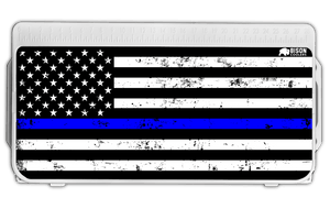 Thin Blue Line Flag Lid Graphic-Cooler Accessories-Bison Coolers-25 Qt.-Bison Coolers