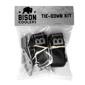 Black Tie-down kit for Cooler. These straps are great to make sure your cooler stays put whether you're off-road on ATV or padding across the lake.