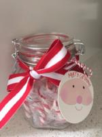 Snowflake Glass Jar with Candy Canes