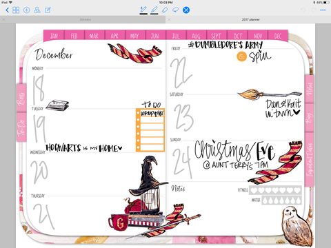 harry potter digital planner layout