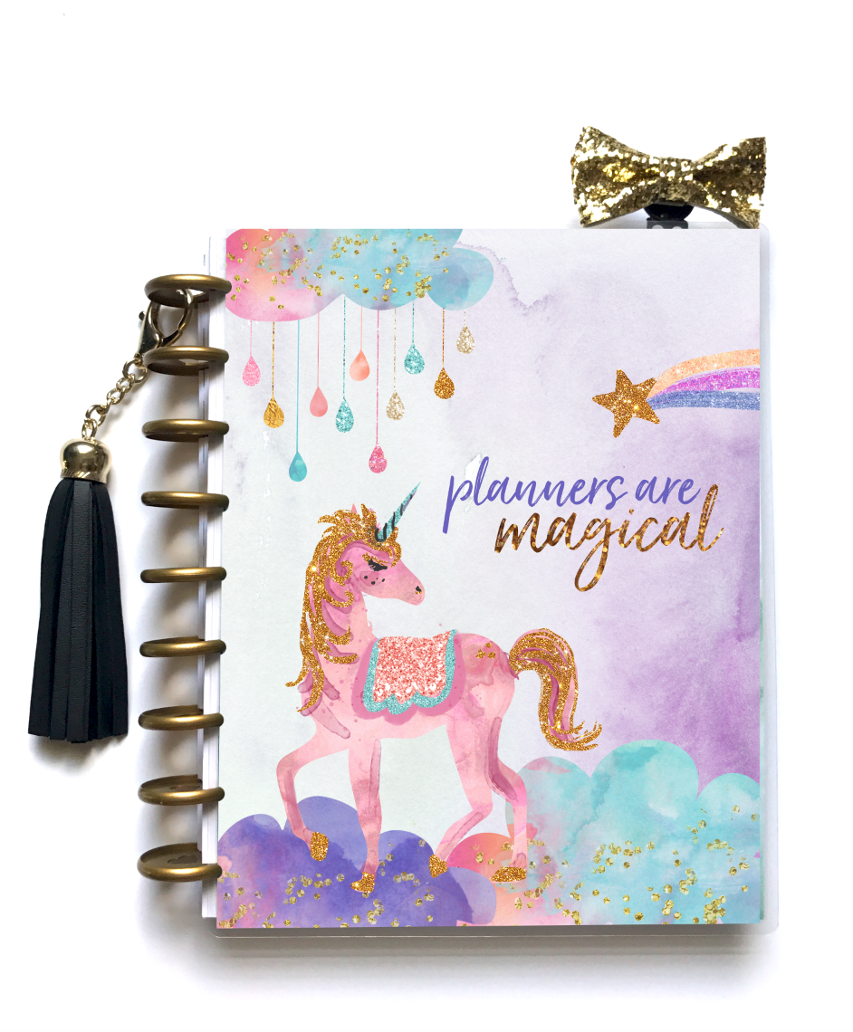 stylish planner cover unicorns
