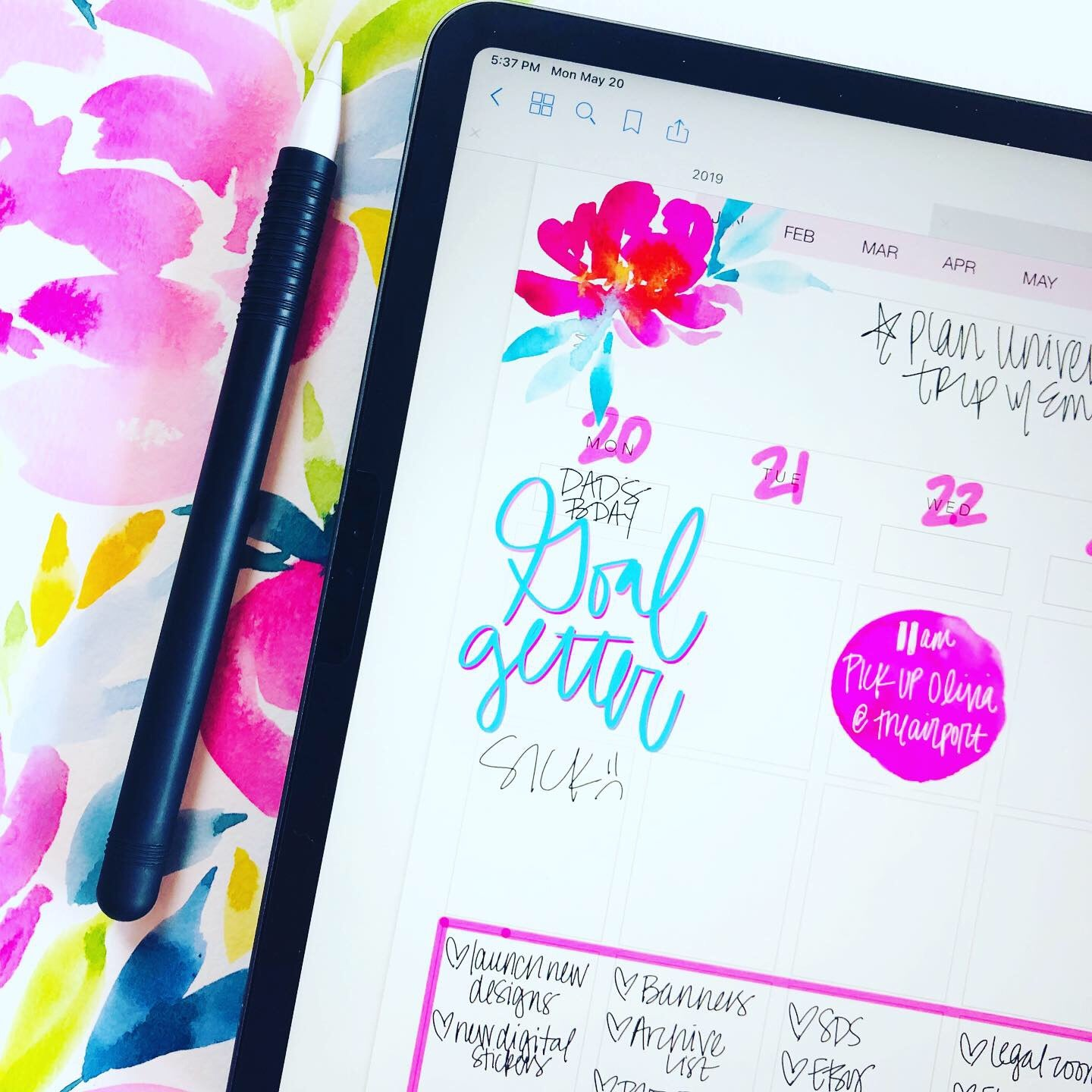 Polly Watercolor Design Elements - Digital Planner Stickers