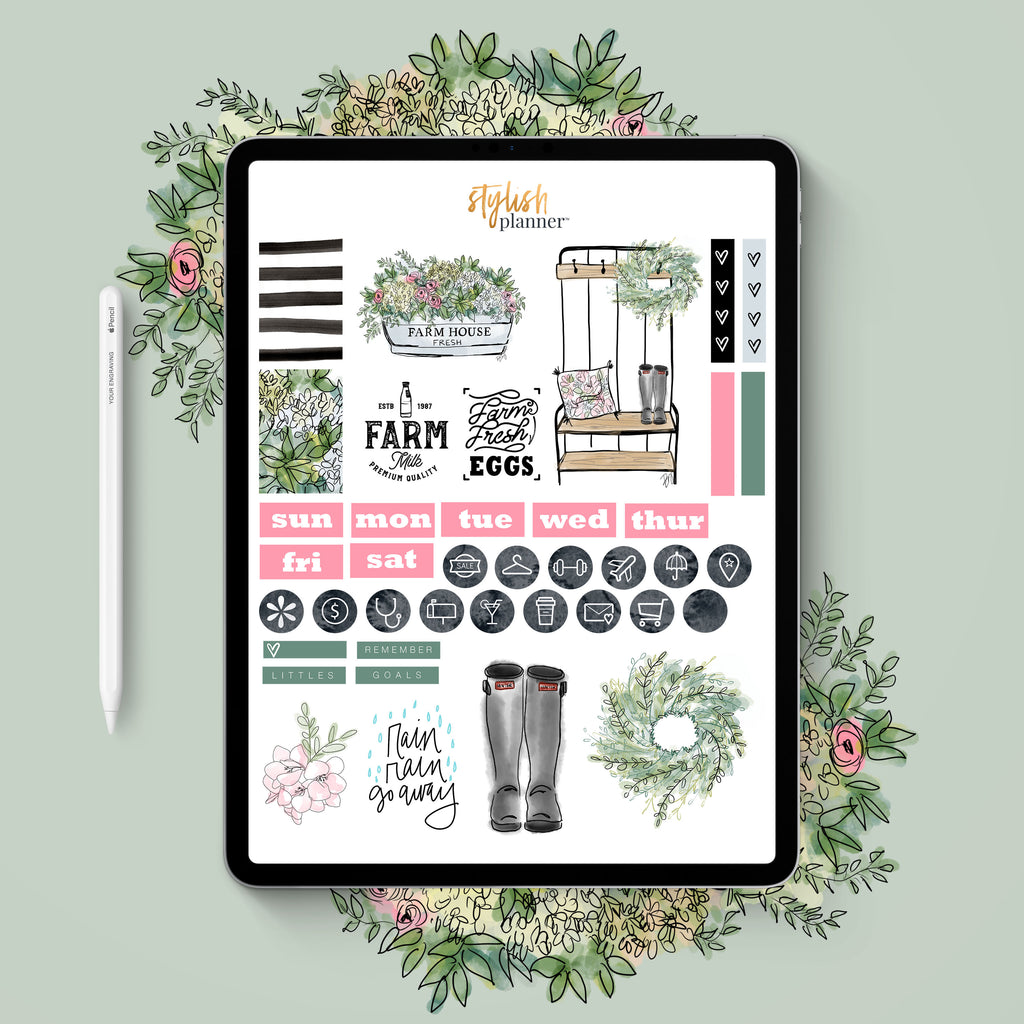 Stylish Planners Home Decor and Stylish Gifts - BUNDLE: Farmhouse Digital Planner Stickers & Design Elements