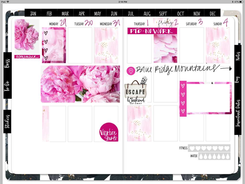 Peony Power Digital Planner Stickers - Weekly Design Sheet - Stylish Planner