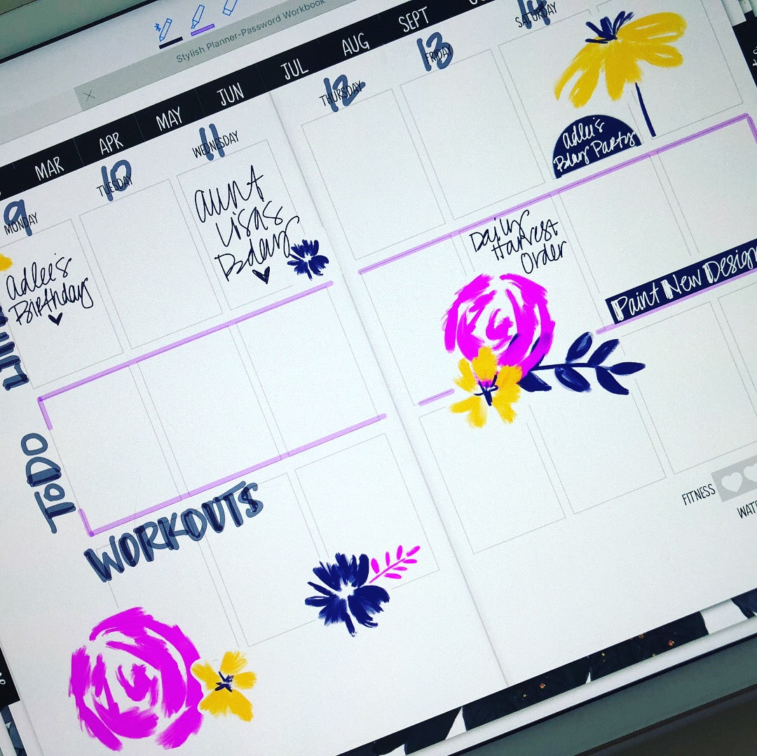 Tropic Petals Digital Planner Stickers - Weekly Design Sheet (Hand-Drawn by Britt)