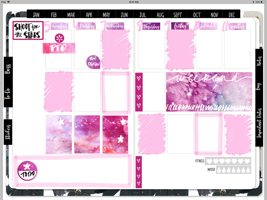 Stylish Planners Home Decor and Stylish Gifts - Galaxy Dreams Digital Planner Stickers