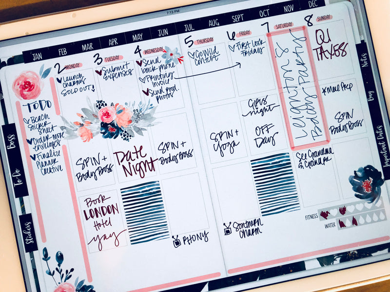 Stylish Planner and Stylish Gifts - Marine Digital Planner Stickers - Weekly Design Sheet