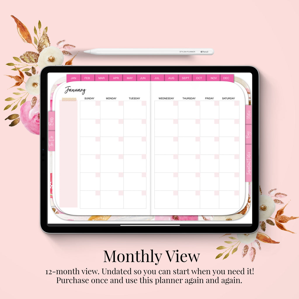 Stylish Planners Home Decor and Stylish Gifts - Undated Pink Digital Planner - 12 months (Horizontal Layout)