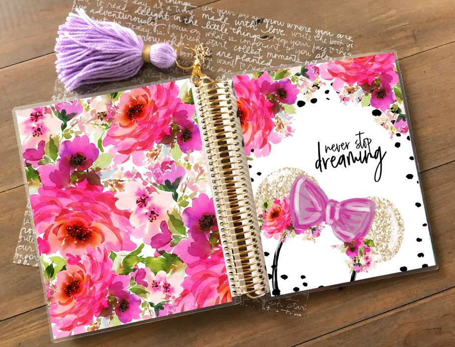Stylish Planners Home Decor and Stylish Gifts - PRINTABLE Stylish Planner™ Cover Set - Never Stop Dreaming (Pink)