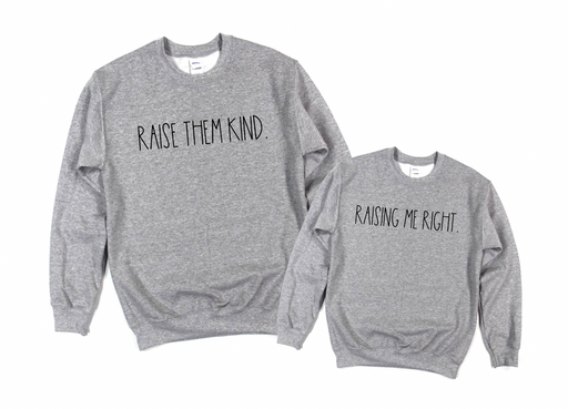 Stylish Planners Home Decor and Stylish Gifts - Raise Them Kind Mommy + Me Matching Sweatshirts
