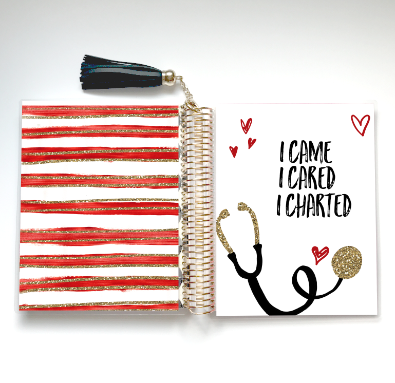Stylish Planners Home Decor and Stylish Gifts - Red Nurse Life Planner Cover (Hand-Drawn by Britt)
