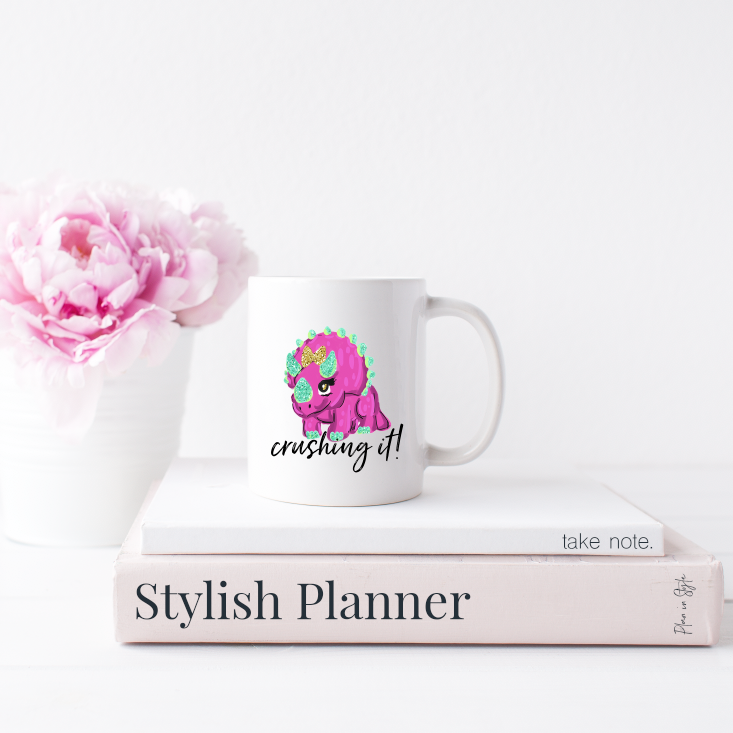 Stylish Planners Home Decor and Stylish Gifts - Dino Crushing It 15oz. Mug - Home Collection