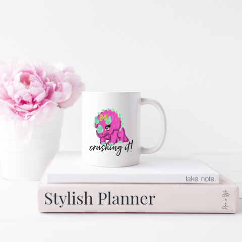Dino Crushing It 15oz. Mug - Home Collection - Stylish Planners