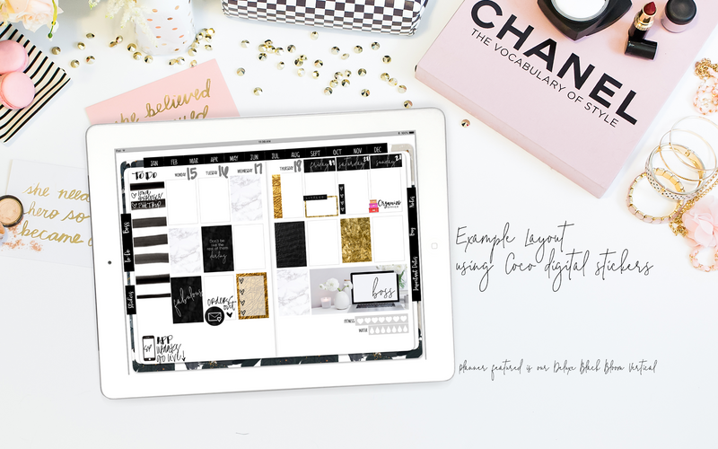 Stylish Planners Home Decor and Stylish Gifts - Coco Digital Planner Stickers - Weekly Design Sheet