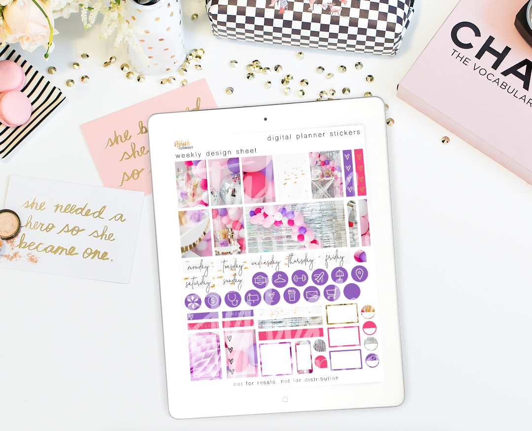 Stylish Planner and Stylish Gifts - Birthday Girl Digital Planner Stickers - Weekly Design Sheet