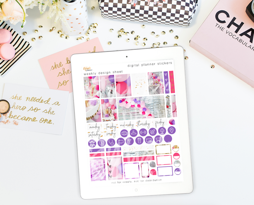 Stylish Planners Home Decor and Stylish Gifts - Birthday Girl Digital Planner Stickers