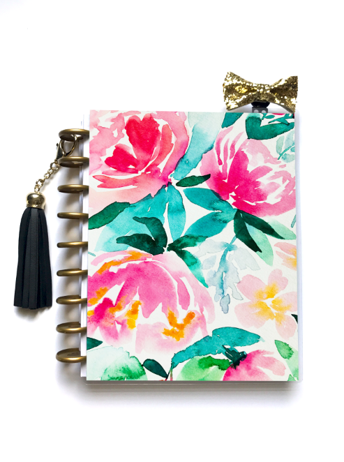 Pink Peony - Planner Cover (Hand Painted by Britt) - Stylish Planner