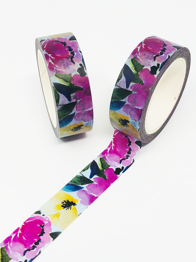 Painted Peony Washi Tape Roll (Hand-painted by Britt) - Stylish Planner