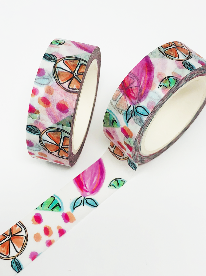 Summer Punch Washi Tape Roll (Hand-painted by Britt) - Stylish Planner