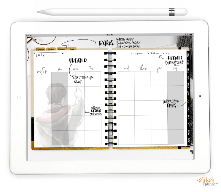 Stylish Planners Home Decor and Stylish Gifts - Styled Wizard Life Horizontal Digital Planner - Undated 12 months