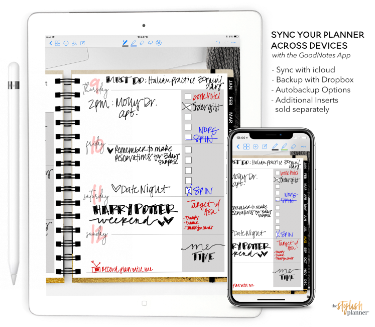 Styled Wizard Life Vertical Digital Planner - Undated 12 months