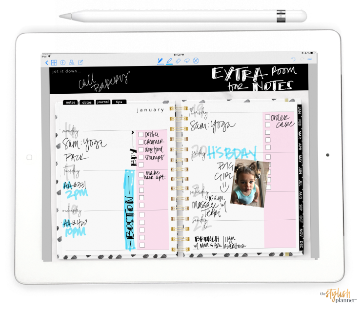 Styled Pink Horizontal Digital Planner - Undated 12 months