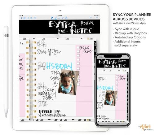 Styled Pink Vertical Digital Planner - Undated 12 months