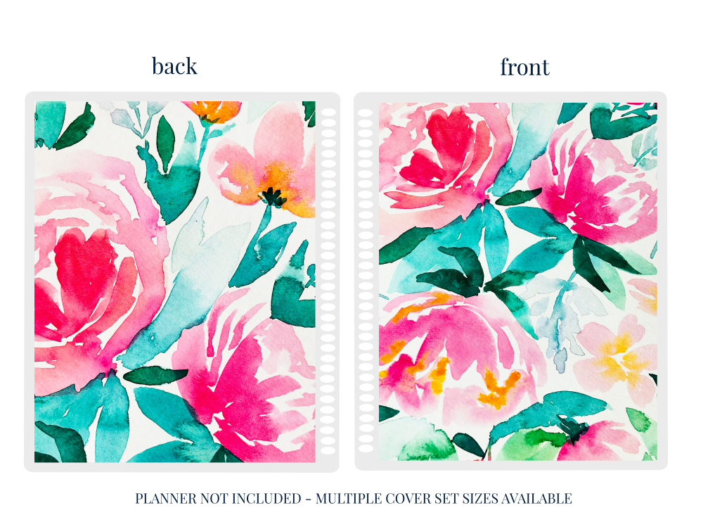 Pink Peony - Planner Cover (Hand Painted by Britt)