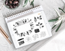 BYO: Black Buds Monthly Design Elements - Digital Planner Stickers - Stylish & Co by Britt Mills