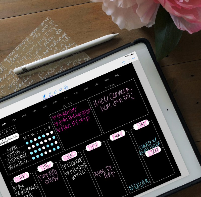 Stylish Planner and Stylish Gifts - Blackout Vertical Digital Planner - Undated 12 months