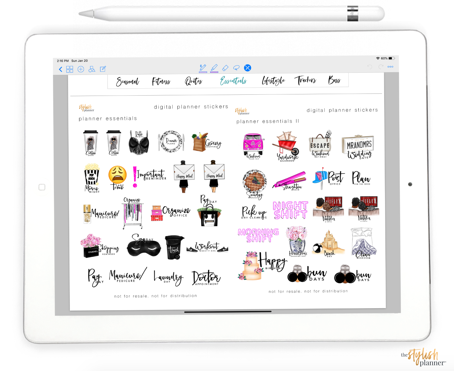 Stylish Planner and Stylish Gifts - Digital Sticker Book - Digital Planning