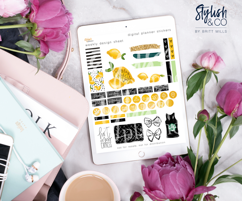 Stylish Planner and Stylish Gifts - Lemons Digital Planner Stickers - Weekly Design Sheet