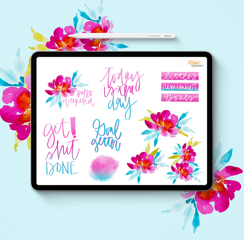 Stylish Planners Home Decor and Stylish Gifts - Polly Watercolor Design Elements - Digital Planner Stickers