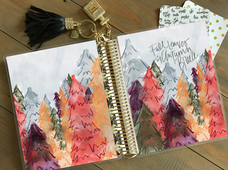 Stylish Planner and Stylish Gifts - Fall Leaves Planner Cover (Hand-Drawn by Britt)