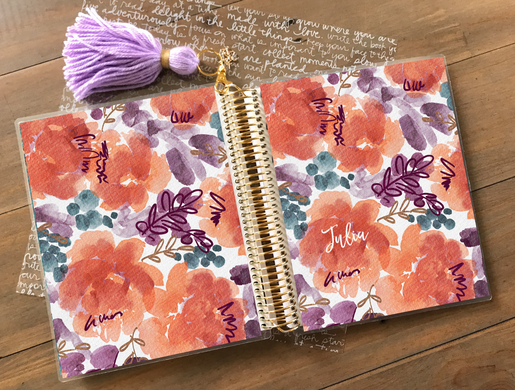 Stylish Planners Home Decor and Stylish Gifts - Pumpkin Bloom Planner Cover (Hand Painted by Britt)