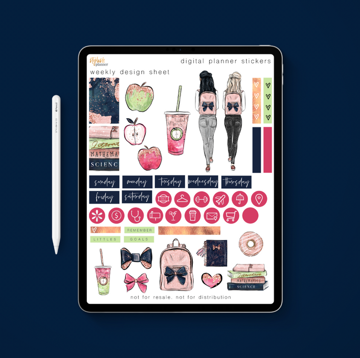 Stylish Planners Home Decor and Stylish Gifts - School Girl Digital Planner Stickers