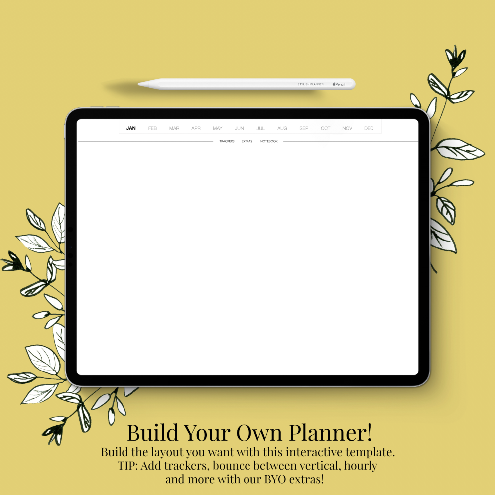 Stylish Planners Home Decor and Stylish Gifts - (GoodNotes File) Build Your Own (BYO) 12-month Planner - Digital Planner
