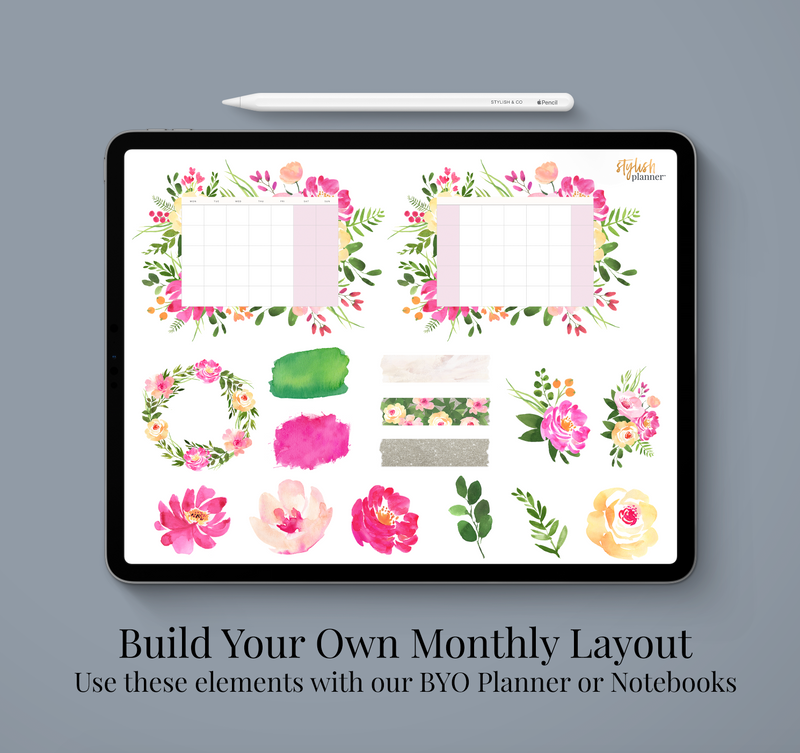 Stylish Planners Home Decor and Stylish Gifts - BYO: Pink Fields Monthly Design Elements