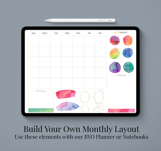 Stylish Planners Home Decor and Stylish Gifts - BYO: Watercolor Monthly Design Elements - Digital Planner