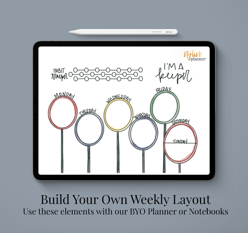 Stylish Planners Home Decor and Stylish Gifts - BYO: Weekly Designed Layout - Wizard Life - Digital Planner