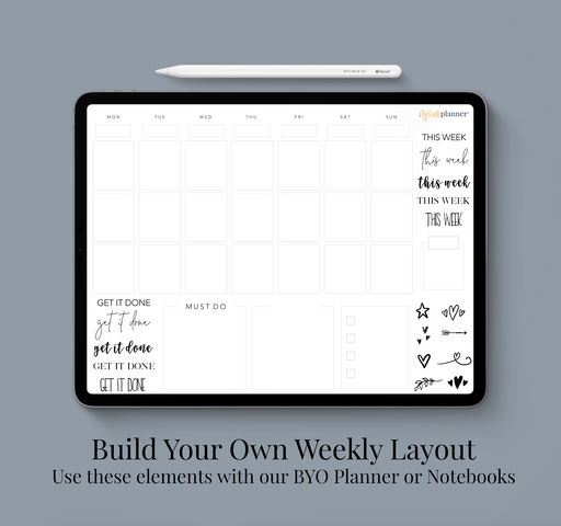 Stylish Planners Home Decor and Stylish Gifts - BYO: Vertical Weekly Design Elements - Digital Planner
