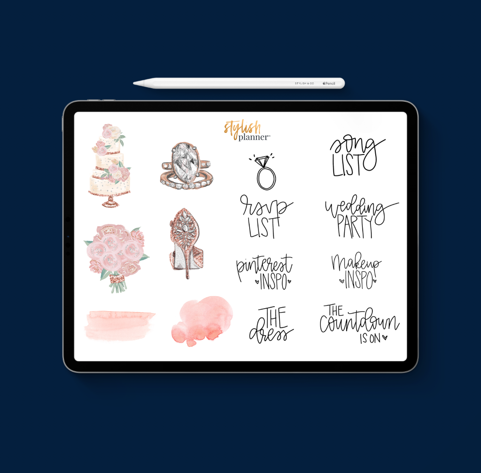 Stylish Planners Home Decor and Stylish Gifts - Wedding Planning Digital Planner Stickers