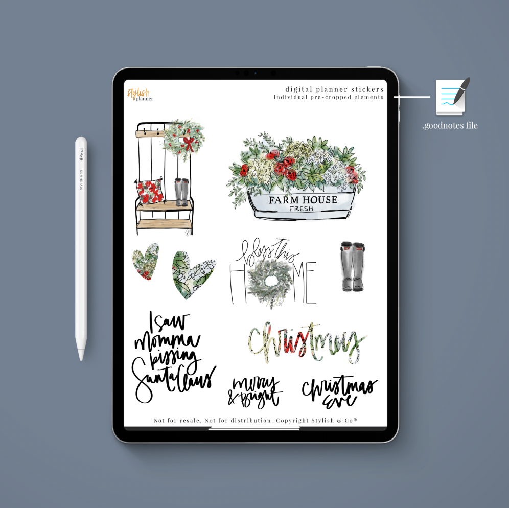 Stylish Planners Home Decor and Stylish Gifts - (Goodnotes File) Farmhouse Christmas Digital Planner Stickers